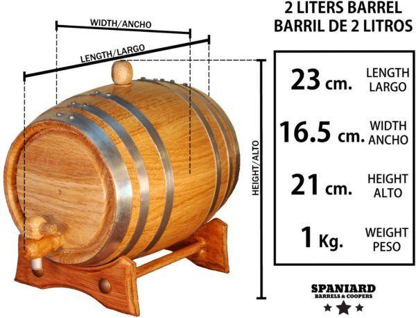 Barril de roble 2 litros